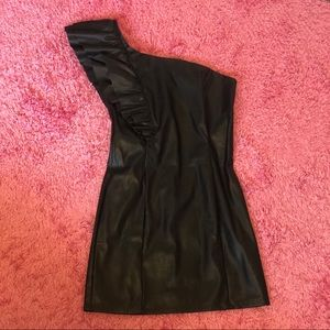 Ruffled one shoulder faux leather dress